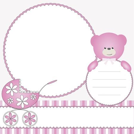 pram: Pink babies background with photo frame