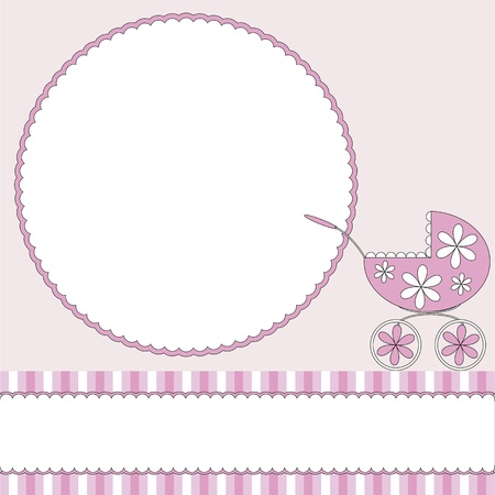 Pink babies background with photo frame and pram Vector