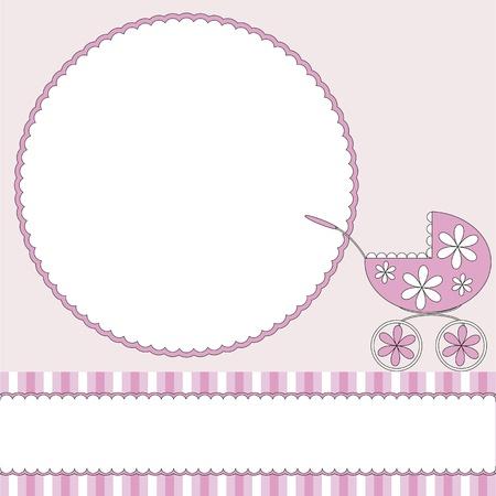 Rosa Baby Hintergrund mit Fotorahmen und Kinderwagen Standard-Bild - 15164471