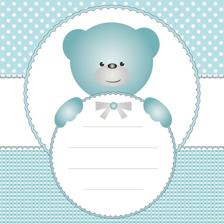 Name tag with blue teddy bear Vector