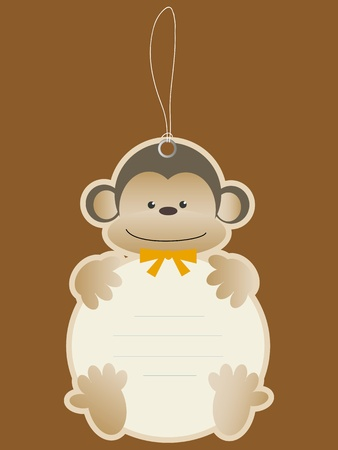 baby stickers: Children price tag with monkey Illustration