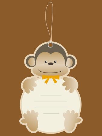 baby monkey: Children price tag with monkey Illustration