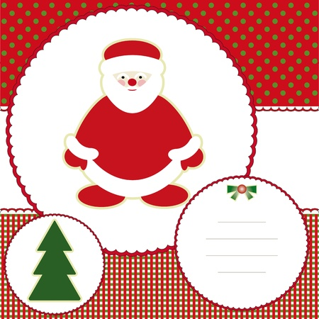 Christmas and new years card with santa claus Vector