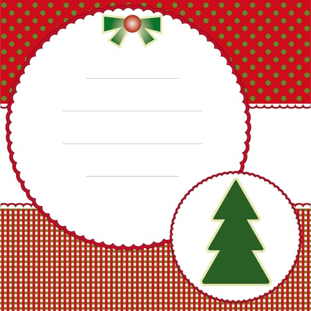 Christmas and new years card with christmas tree Vector