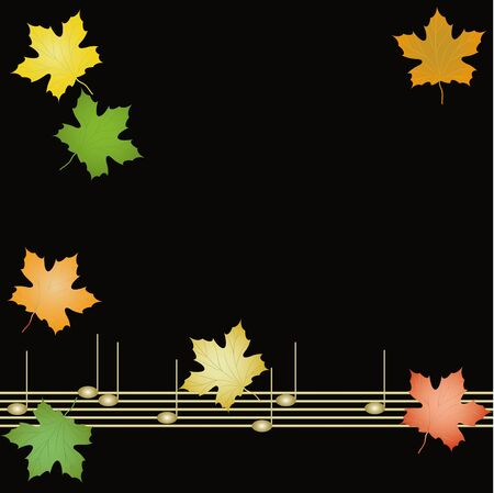 Autumn background with musical notes and leaves of maple Stock Vector - 15495547