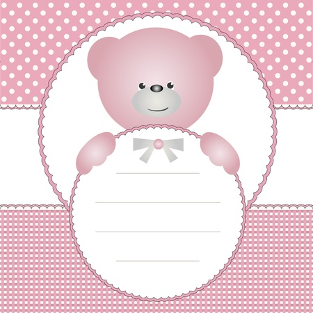 Babies invitation card or name tag with teddy bear Vector