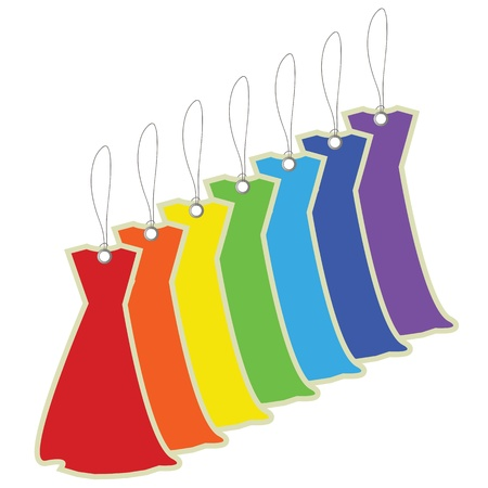 clothing label: Colorful price tags dresses Illustration