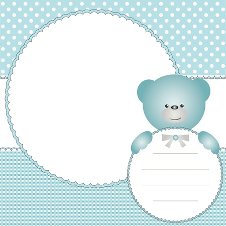 Babies boy background with photo frame and teddy bear