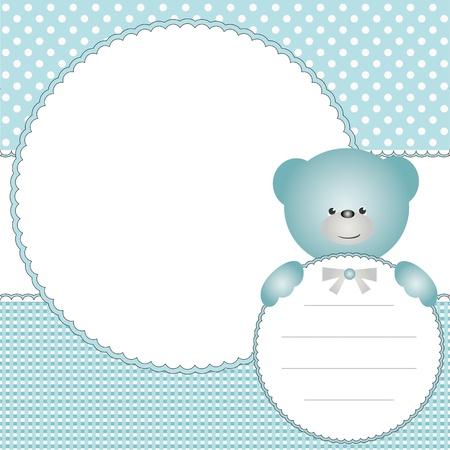 Babys Jungen Hintergrund mit Fotorahmen und Teddybär Standard-Bild - 15237157