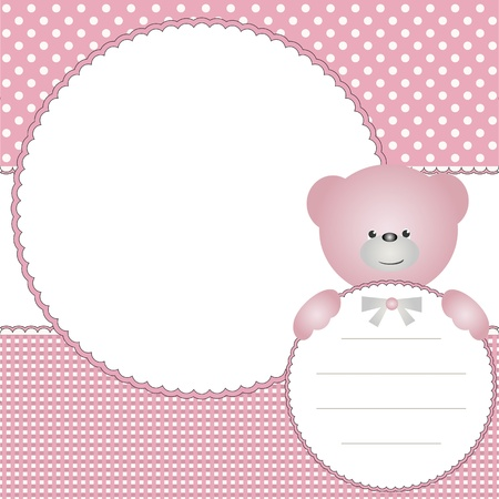 Babies girl background with photo frame and teddy bear Vector