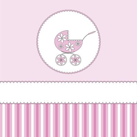 pram: Babies girl background with pram Illustration