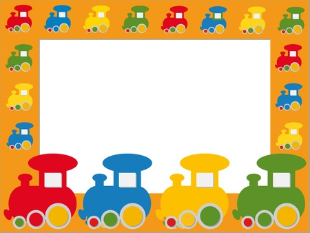 Children photo frame with colorful trains Stock Vector - 15237219