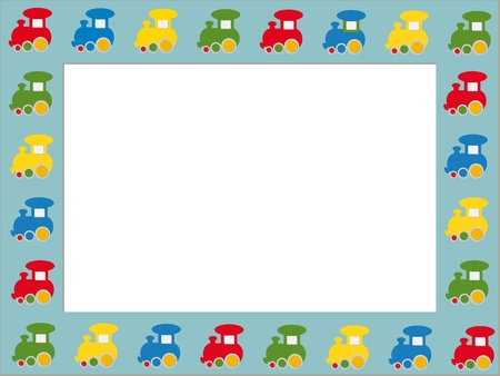 Children photo frame with colorful trains Vector