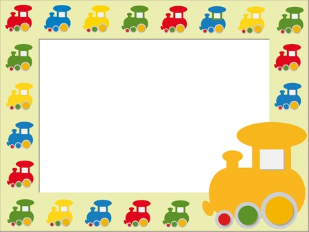 children photo frame: Children photo frame with colorful trains