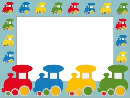 frame with colorful trains Vector
