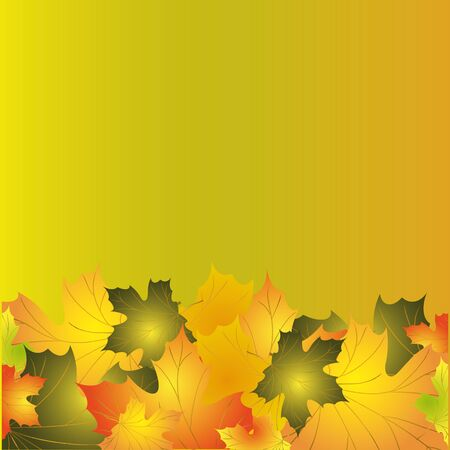 golden border: Autumn background with colorful leaves of maple