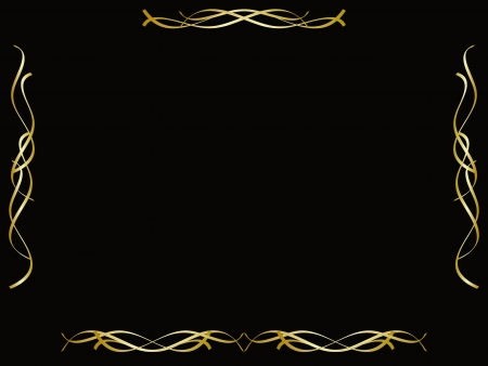 Gold border frame on black background  Stock Vector - 15785634