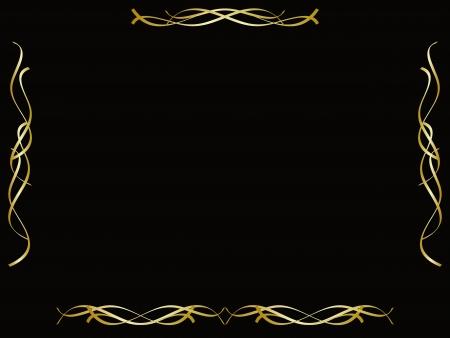 gold ribbons: Gold border frame on black background