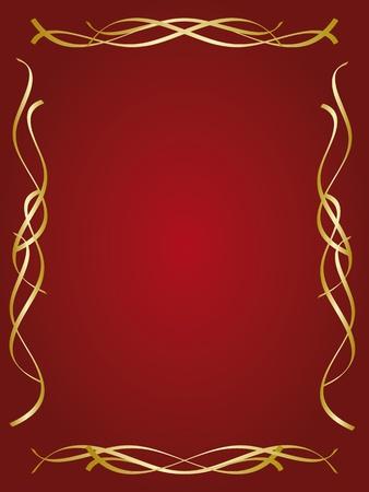 red swirl: Gold decorative frame