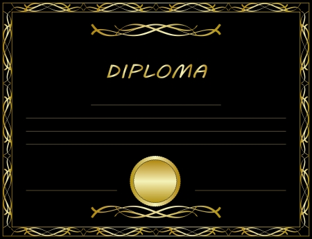 Gold diploma template  Vector