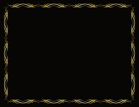 diploma border: Gold border frame on black background