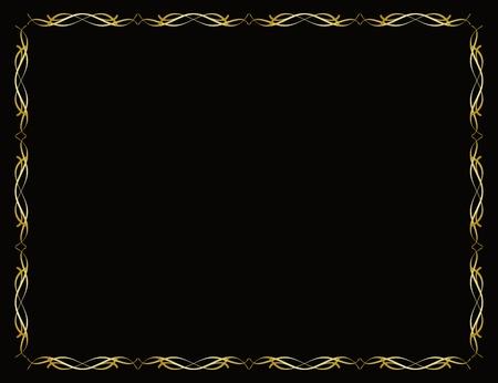 Goldgrenze Rahmen auf schwarzem Hintergrund Standard-Bild - 15819957