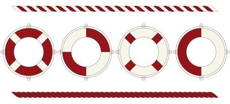 navy ship: Set of lifebuoys