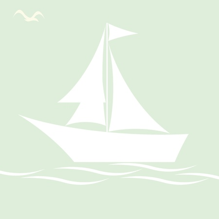 White sailing boat on blue Vector