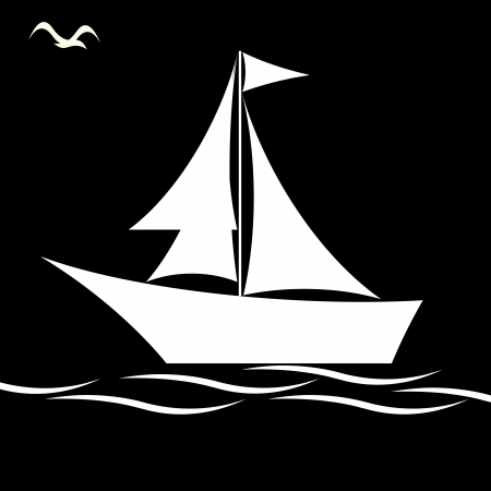 Black and white sailing boat  Vector