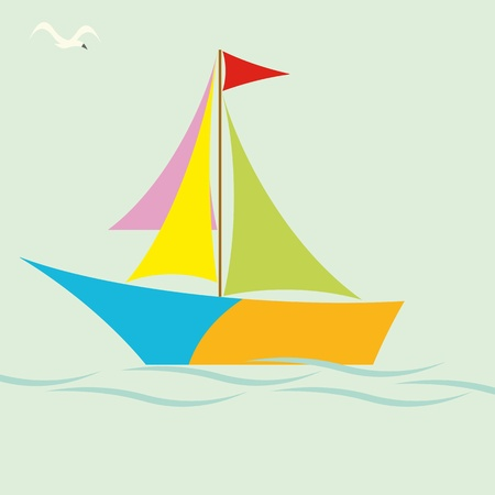 Colorful sailing boat Vector