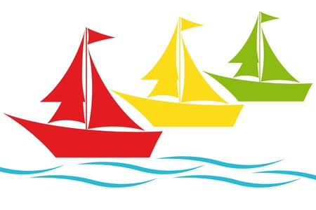 Colorful sailing boats  Vector