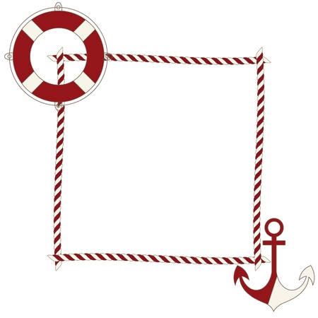 rope border: Children frame with nautical icons