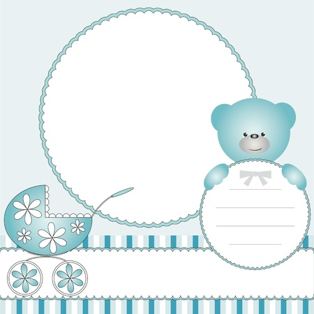 baby announcement card: Babies blue background with pram and teddy bear  Illustration