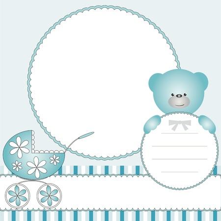 perambulator: Babies blue background with pram and teddy bear  Illustration