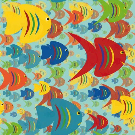 Seamless background with colorful fish  Stock Vector - 15819995