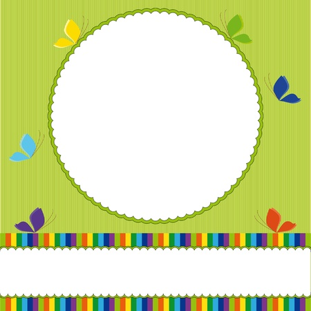 Background  with frame and butterflies Vector