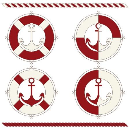 lifebuoy: Anchor and lifebuoy  Illustration