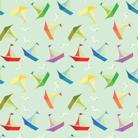 Children background with colorful boats  Illustration