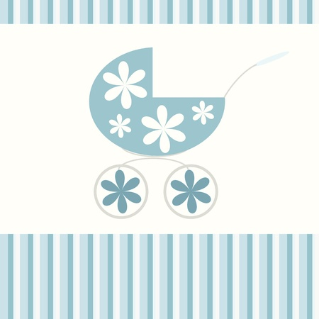 Babies blue background with pram Vector