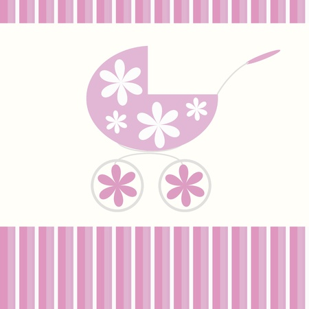 Babies background with pink pram  Vector