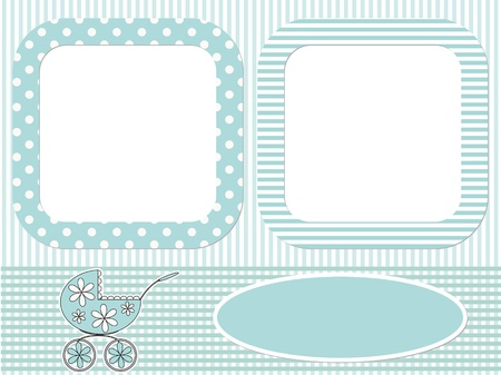 Baby blue photo frame  Vector