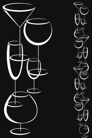 Wine card menu with glasses of alcohol drinks Stock Vector - 16664544
