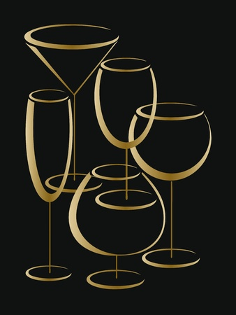 Background or cower of wine card with set of gold glasses for alcohol drinks Stock Vector - 16664539
