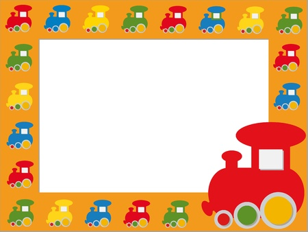 the album announcement: Children photo frame with colorful trains