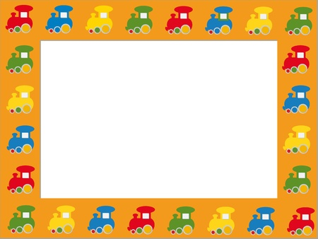 Children photo frame with colorful trains