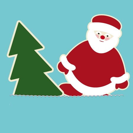 New year card with santa claus and christmas tree  Vector