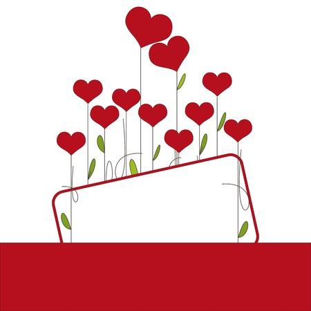 San Valentín o tarjeta de invitación de boda con corazones