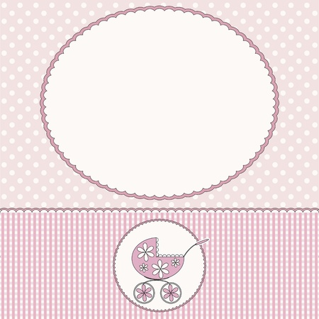 Baby arrival card or baby photo frame Vector