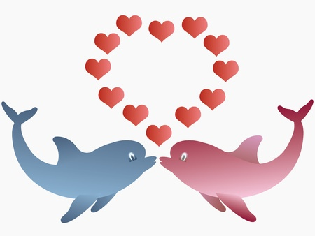 Two dolphins and hearts  Vector