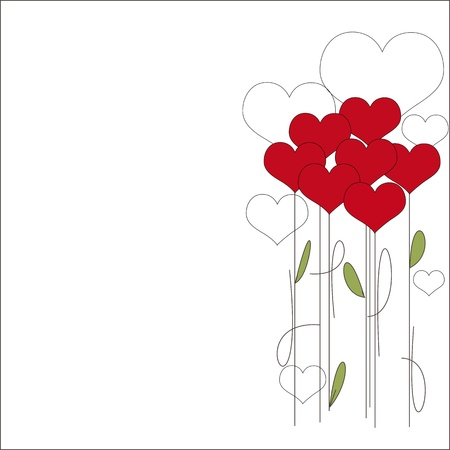 14 february: Valentines day invitation card with bouquet of flowers hearts
